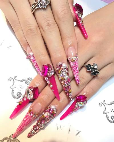 Delicious Primark 24 False Nails Ps Pink Princess Stiletto Pointed Ladies Nail Care, Manicure & Pedicure Artificial Nail Tips